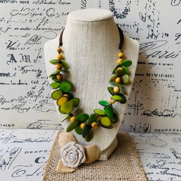 Green Flower Adjustable Tagua Nut Necklace
