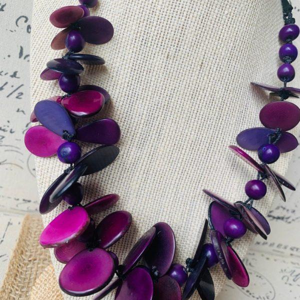 Purple Flower Tagua Nut Adjustable Necklace