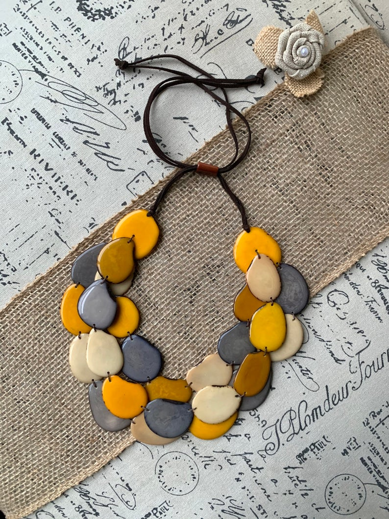 Yellow and Gray Triple Layer Statement Tagua Necklace