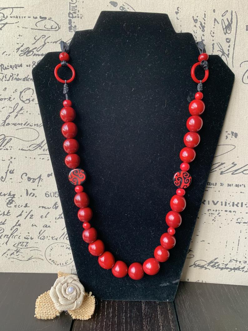 Red Extra Long Tagua Nut Necklace with Bubblegum Beads