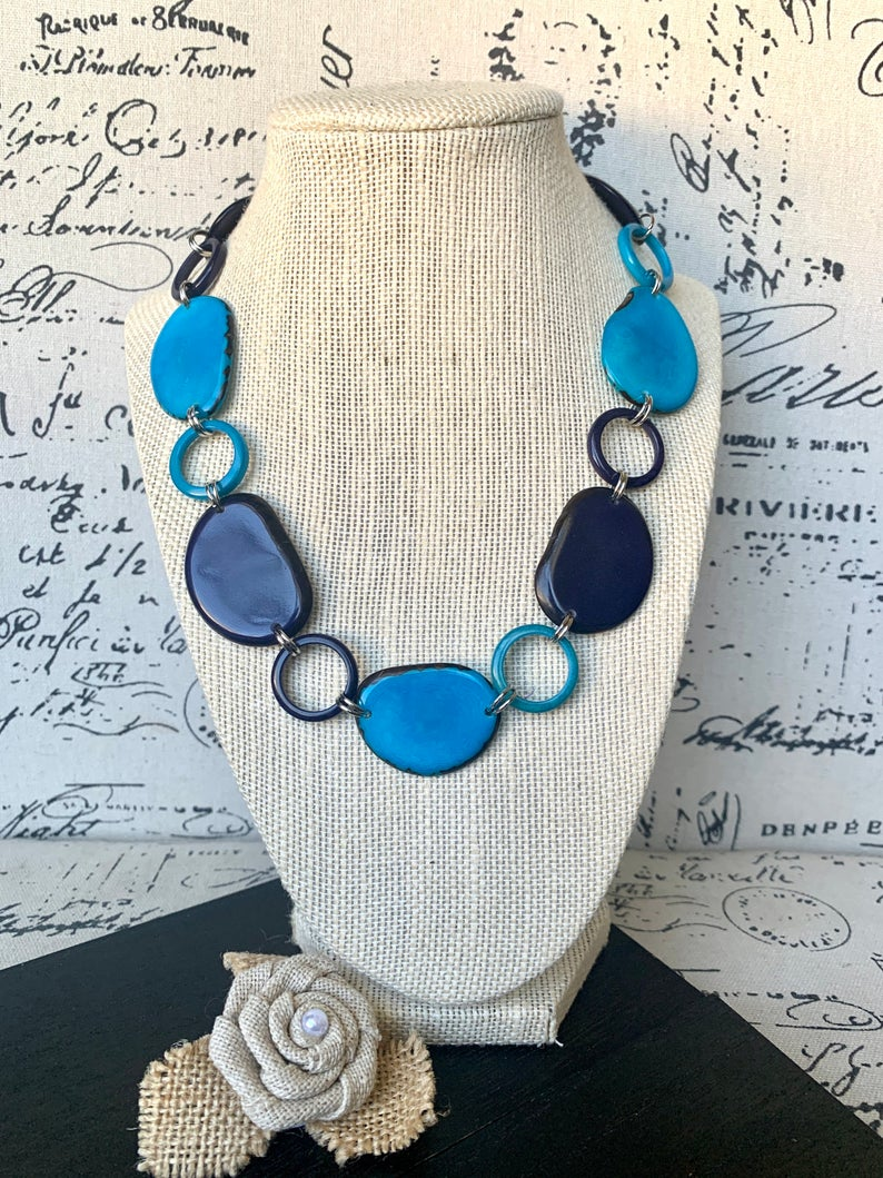 Blue and Turquoise Short Tagua Nut Necklace