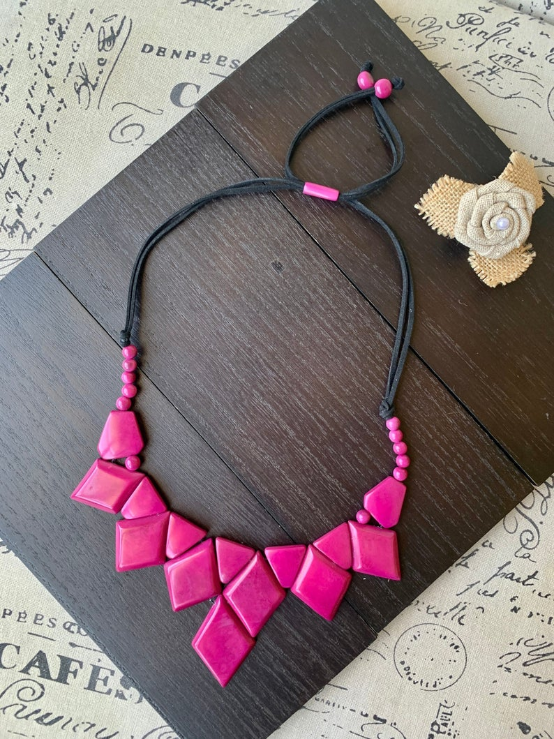 Magenta Purple Adjustable Geometric Tagua Nut Necklace