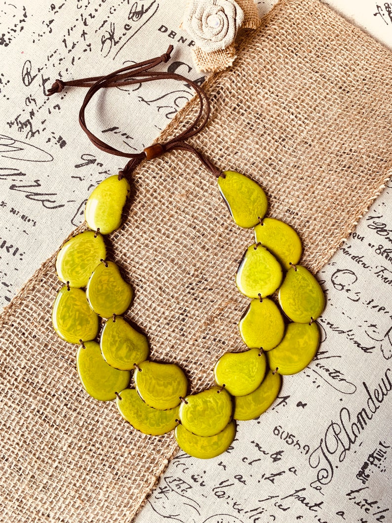 Lime Green Double Layer Tagua Nut Necklace